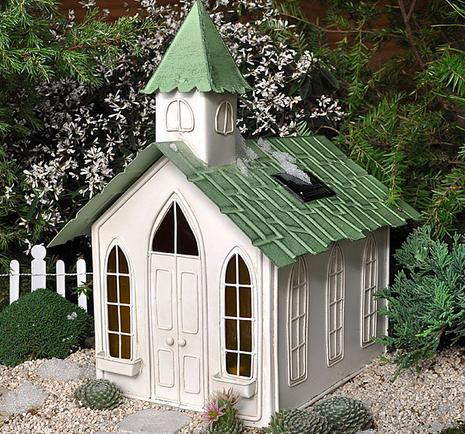 miniature chapel with solar lights