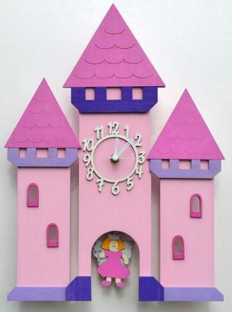 pink castle clock with fairy pendulum