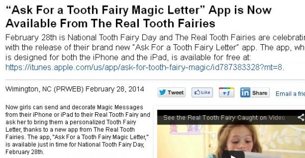 ap for tooth fairy letters